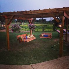 Love my new pergola!!! Custom made swings with marine rope to hang them. Rustic outdoor look. ❤️