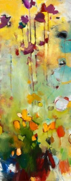 """Cosmos Calendula"" 17 x 44 by artist Corre Alice, oil on canvas"