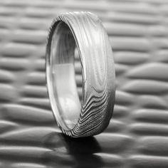Flat 6mm Wide Damascus Steel Natural Woodgrain Pattern Ring  |  EPIC WOOD
