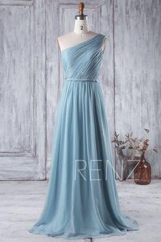 2016 Dusty Blue Bridesmaid Dress Long Chiffon Wedding by RenzRags