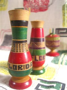 Vintage Florida souvenir salt and pepper shakers - 1950s carved wood made in Mexico on Etsy, $20.00