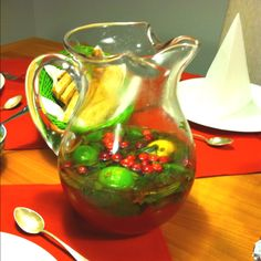Cranberry mojito for Christmas Eve dinner beverage!