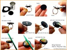 How to make a polymer clay ring on a wire basePart 2 .... http://shimshoni-gallery.com/Shimshoni_Gallery/Tutorials/Pages/Photo_Tutorials.html