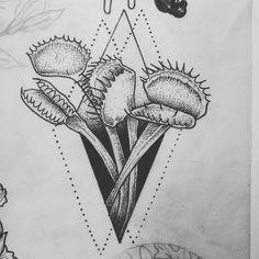 Venus fly trap for a coworker  #venusflytrap #tattooflash #illustration #blackworktattoo #stippleshading by miel.leilani