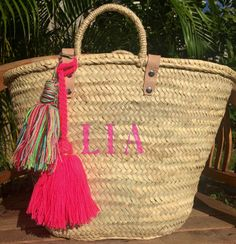 monogrammed bag, personalized basket, french market basket ...
