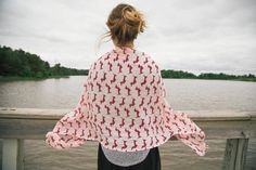 Women's Bella Dachshund Doxie Dog Print Scarf / Shawl (RED). Shoulder Wraps. Fashion Scarves. Unique Gift Ideas. For Her. Dog Lovers.