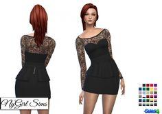 Long Sleeve Lace Top Peplum Mini Dress at NyGirl Sims • Sims 4 Updates