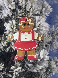 GingerGirl Polymer Clay Cookie Ornament by GingerbreadFair on Etsy