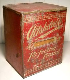 "VERY OLD 9 1/2"" RED TIN ALTSHELER  CO. PERFECTION BRAND SPICE COUNTER TIN BOX"