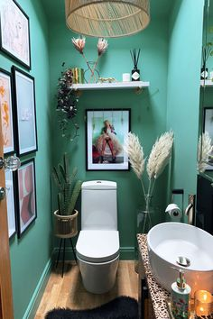 Quirky Downstairs Toilet Makeover - Teal & Leopard Decor - Caradise Downstairs toilet makeover ideas and decor for a small bathroom. Quirky teal cloakroom interior design refresh with statement gold accessories, hand painted leopard unit Small Toilet Decor, Small Toilet Room, Small Bathroom Paint, Boho Bathroom, Bathroom Ideas, Bathroom Inspo, Small Bathrooms, Quirky Home Decor, Diy Home Decor