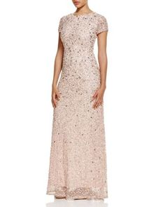 Adrianna Papell Short Sleeve Embellished Gown | Bloomingdale's