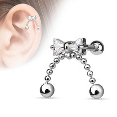 Bow Cartilage Earring 16ga Surgical Steel Upper Ear Helix Body Piercing Jewelry