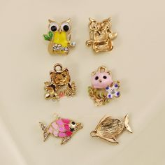 Find More Charms Information about 10pcs Fish Owl Pig floating Enamel Charms Alloy Pendant fit for necklaces bracelets DIY Female Fashion Jewelry Accessories,High Quality pendant blue,China pendant bale Suppliers, Cheap pendant shade from Playful beauty department store on Aliexpress.com