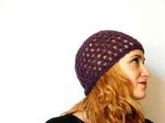cuffia a uncinetto,cappellino mohair viola argento di cose di isa su DaWanda.com