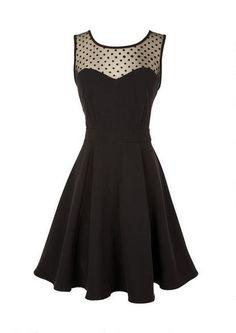 Illusion Dot Fit And Flare Dress - Little Black Dress - Dresses - Clothes - dELiA*s