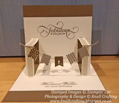 Stampin' Up! Banner Blast, Pop Up banner card. Fun Fold Cards, 3d Cards, Pop Up Cards, Folded Cards, Stampin Up Cards, Craft Cards, Pop Up Banner, Tarjetas Pop Up, Interactive Cards
