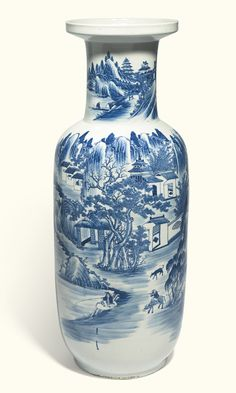 A large Chinese blue and white rouleau vase, Qing dynasty, 19th century, the rounded sides rising from a short slighlty spreading foot to a cylindrical neck and everted galleried rim, painted with a continuous scene of cottages in a walled garden amongst pine and bamboo, in a mountainous river landscape. 89cm | Sotheby's Chinese Landscape Painting, Chinese Painting, Chinese Art, Landscape Paintings, Pottery Place, Blue Pigment, Walled Garden, Blue And White China, Chinese Ceramics