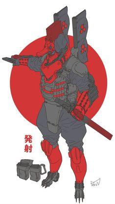 Commander Tengu by obokhan on DeviantArt Armor Concept, Concept Art, Character Concept, Character Art, Cyberpunk Kunst, Arte Ninja, Japon Tokyo, Sci Fi Armor, Future Soldier