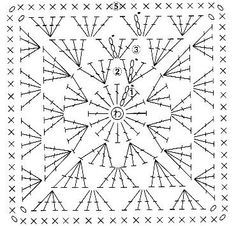 Crochet Granny Square - Chart ❥ 4U hilariafina http://www.pinterest.com/hilariafina/