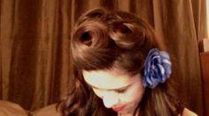 Pin up hair style tutorial, via YouTube.