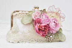 Vintage Wedding ivory Dupioni silk clutch by Petite Vintage Handbags