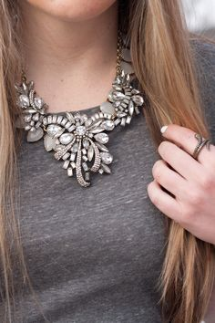 Add a jewel statement necklace with a casual tee for the perfect dressy casual look.