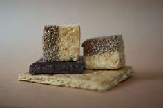 S'more marshmallows. These marshmallows are half chocolate and half vanilla and then rolled in graham cracker crumbs. This company sells homemade marshmallow in numerous flavors. They're boxed up and perfect for a unique gift