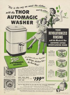 1949 Thor Automagic Clothes Washer Mid Century by AdVintageCom