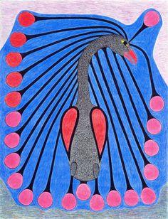 Bird with Long Plumes by Kenojuak Ashevak, Inuit artist Arte Inuit, Inuit Art, Rare Birds, Native American Artists, Canadian Art, Indigenous Art, Art Graphique, Naive Art, Art Forms