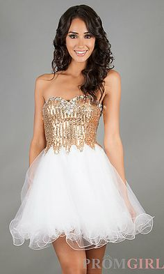 Short Strapless Prom Dress at PromGirl.com