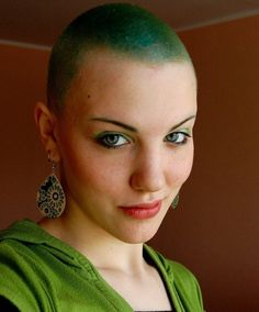 bald girls green hair and green makeup