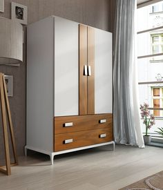 Add this modern style wardrobe to your bedroom. This wardrobe features 2 doors. 2 drawers and simple pulls. The wardrobe has a two tone color that is sure to stand out. Contemporary Bedroom Furniture Sets, King Size Bedroom Furniture, Wardrobe Furniture, Bedroom Furniture Design, Modern Bedroom, Small Bedroom Wardrobe, Wardrobes For Small Bedrooms, King Size Storage Bed, Wardrobe Door Designs