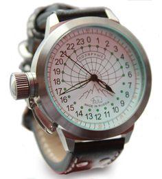 Надежные механические часы с автоматическим подзаводом. Хромированный стальной корпус, сапфировое стекло, белый циферблат с крупными часовой и минутной стрелками, оригинальное графическое решение дизайна циферблата, символизирующие сетку часовых поясов,