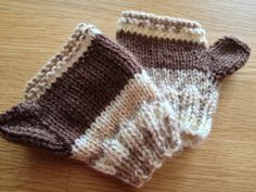 "Hand-knitted ""Squirrel Nutkin"" toddler's fingerless gloves - part of the justmoms autumn collection ......"
