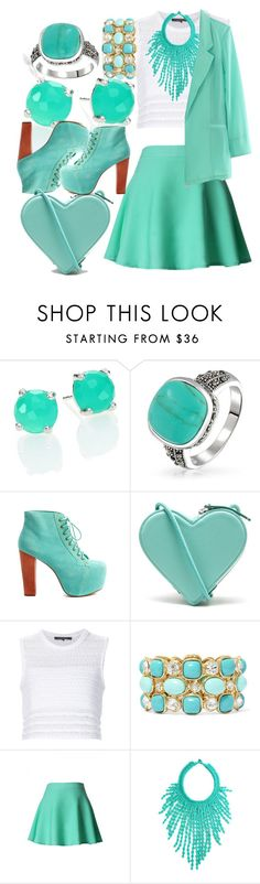 """""""Think Turquoise"""" by egordon2 ❤ liked on Polyvore featuring Ippolita, Bling Jewelry, Jeffrey Campbell, Christopher Kane, Thakoon, Monet, Chicwish, Lagom, WorkWear and Work"""