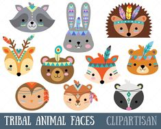 Tribal Woodland Animal Clip Art, Forest Animal Faces - My best shares Forest Animals, Woodland Animals, Tribal Animals, Cute Animals, Art Mignon, Animal Graphic, Image Clipart, Animal Faces, Woodland Party