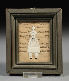 AMERICAN FURNITURE & DECORATIVE ARTS - SALE 2618B - LOT 3 - FRAMED MINIATURE FAMILY RECORD AND CUT PAPER DOLL COMPOSITION, AMERICA, EARLY 19TH CENTURY, A CUT-PAPER FIGURE OF A LADY WITH CUTOUT AN - Skinner Inc