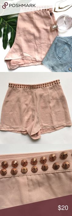 "NWT Blush High Waisted Rose Gold Studded Shorts These were a gift but I never got to use them. They are super cute.High waisted shorts with rose gold studs at front. Hook/eye and zipper closure at back. Shell & Lining: 100% polyester. Length: 12.75"" Waist: 25/26"" Forever 21 Shorts"