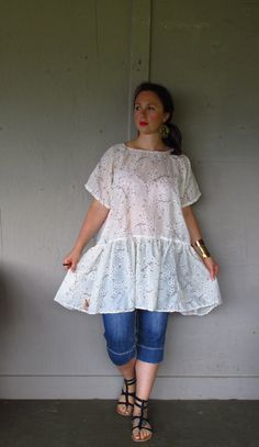 oversize upcycled dress / Romantic hippie dress / Eco rustic farm girl clothing / layered overdress Prairie girl dress by LillieNoraDryGoods