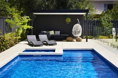 The Manhattan fibreglass pool & spa is a stunning one piece swimming pool configuration that has been designed with the whole family in mind. Backyard Pool And Spa, Backyard Pool Landscaping, Swimming Pools Backyard, Swimming Pool Designs, Pool Spa, Fiberglass Swimming Pools, Pool Fountain, Pool Cabana, Modern Pools