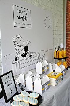 "Party table from a ""Diary of a Wimpy Kid"" Party on KARA'S PARTY IDEAS 