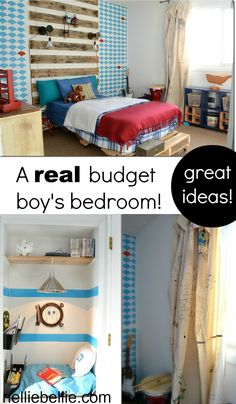check the lights and wood slats  This boy's bedroom is chock full of great ideas for a budget! A real budget. A small budget. So creative and clever the things you can do with not much!