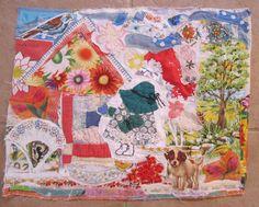 WILD FLOWERS COTTAGe GARDEN - Sun Bonnet Sue & Dog - 16 X 20 Folk Art Fabric Collage - Vintage Materials - myBonny Random Scraps by MyBonny on Etsy