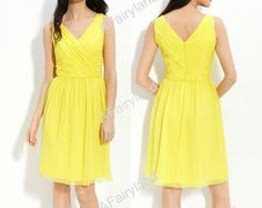 Yellow chiffon Vneck prom/party/bridemaid dress with by AFairyland, $65.00- Celeste Ring Bearer
