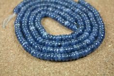 Kyanite Rondelle Beads - Blue Smooth Round Beads, 16 inch strand