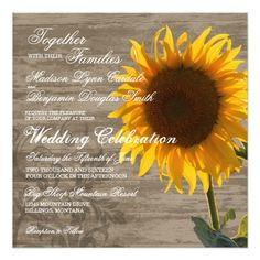 Rustic Wood Country Sunflower Wedding Invitations for a vintage distressed look.  Two Sided.  40% OFF when you order 100+ Invites.  #wedding