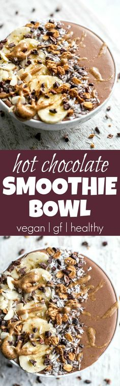Hot Chocolate Smoothie Bowl - smooth, creamy, and sure to keep you satisfied for hours! This warm and comforting vegan smoothie will knock out those chocolate cravings while providing you with a balanced breakfast or snack | runningwithspoons.com