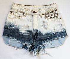 DIY: Ombre Bleached and Studded Shorts