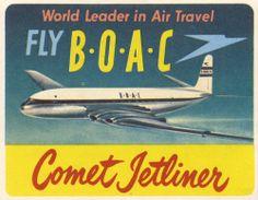 Vintage BOAC Airlines sticker/label