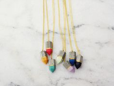 Concrete colorful crystal shaped pendants by cocorrina. Coming soon